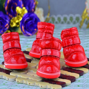 Pets Winter Snow Dog Boots Casual Dog Shoes Pet Slip-resistant Waterproof Shoes Teddy Dog Shoes 4 Pcs/Sets
