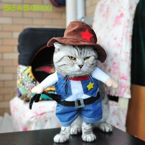 1 set  Cowboy Cosplay Funny Dog Cats Coats Costume  Suit For Pet  Uniform Clothes Puppy Hat Suit Dressing Up Party photography