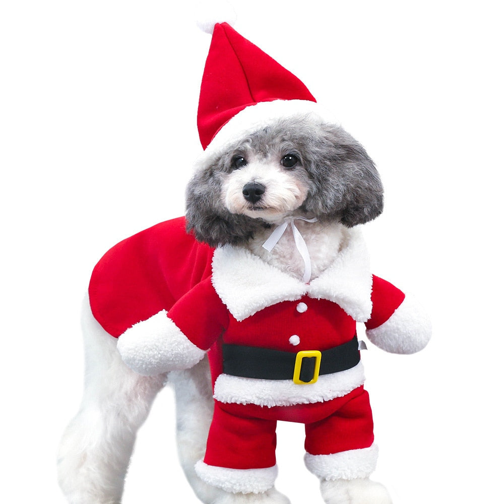 2019 NEW Pet Dog Cat Christmas Clothes Santa Claus Costume Winter Pet Coat Apparel Dog Suit with Cap