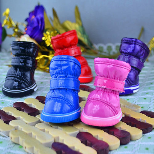 4Pcs/Set Winter Pet Dog Shoes Waterproof  Dog's Boots Cotton Non Slip for ChiHuaHua Pet Product socks (XS-XL)