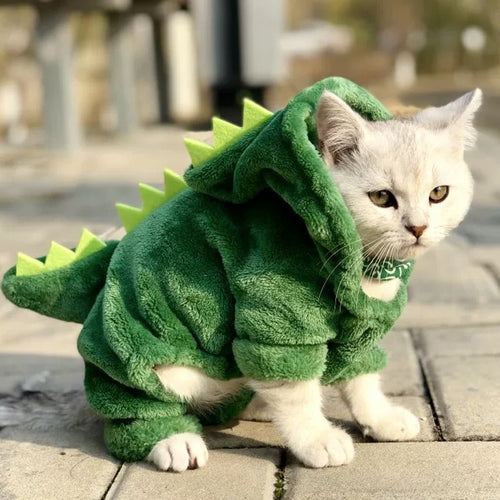 Pet Clothes Funny Dinosaur Costumes Coat Winter Warm Fleece Cat Clothing For Small Cats Kitten Hoodie Puppy Clothes ropa perro