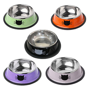 Thick Non-slip Cat Dog Food Bowl Foods Utensils Single Stainless Steel Pet Bowls l29k