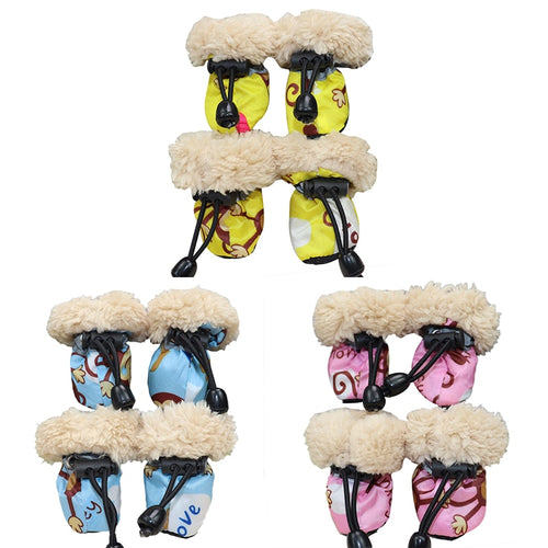 4pcs/Set Pet Dog Winter Shoes Rain Boots Set With Fleece Liner Cartoon Printed Waterproof Anti Slip Shoes For Dogs Puppy Socks