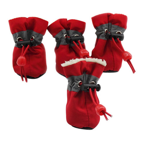 Creative 4 Pcs/lot Pet Dogs Shoes Rain Snow Waterproof Booties  Rubber Anti-slip Shoes For Small Dog Puppies Shoes Winter
