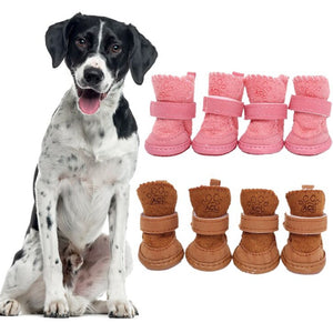 4Pcs/set Pet Winter Warm Shoes Pet Dog Shoes Thick Snow Boots Animal Warming Cotton Sneakers Plush Winter Puppy Cats Warm Boots
