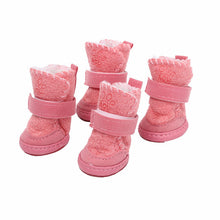 Load image into Gallery viewer, 4Pcs/set Pet Winter Warm Shoes Pet Dog Shoes Thick Snow Boots Animal Warming Cotton Sneakers Plush Winter Puppy Cats Warm Boots