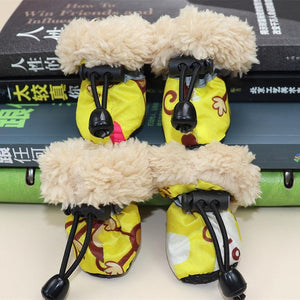 4pcs Waterproof Winter Pet Dog Shoes Anti-slip Rain Snow Boots Footwear Fleece Warm For Small Cats Puppy Dog Socks Booties
