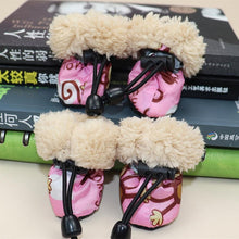 Load image into Gallery viewer, 4pcs Waterproof Winter Pet Dog Shoes Anti-slip Rain Snow Boots Footwear Fleece Warm For Small Cats Puppy Dog Socks Booties