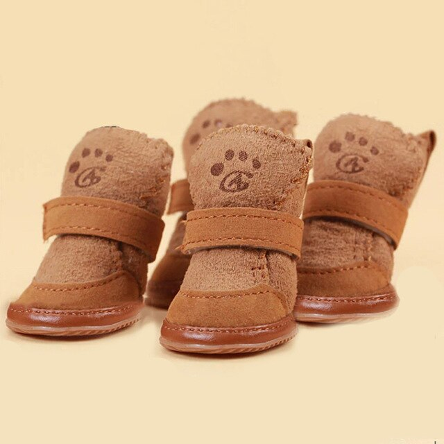 Cute Soft Bottom Comfortable Non-slip Winter Dog Shoes Waterproof For Small Dogs Pet Warm Brown Pink dog socks Pet's Favorite