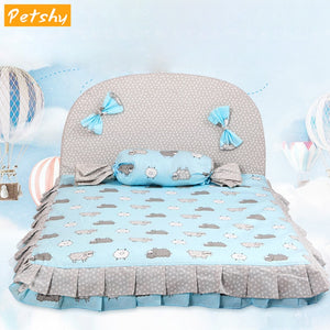 Petshy Cotton Dog Bed Cat House Pet Products Detachable Small Medium Dogs Kennel Cushion Floor Mats Pad Puppy Cats Loungers Nest