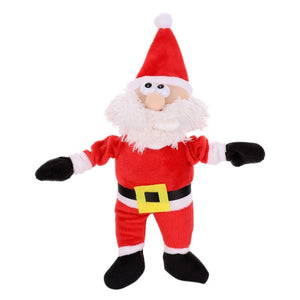 New Plush Christmas Santa Doll For Pet Chew Toy  Christmas Tree Pendant Children Finger Elastic Pets Supply Toy