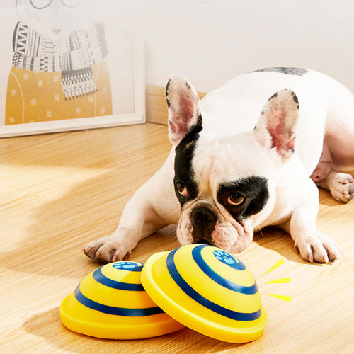 Dog Toys Squeaking Sounding Disc Woof Glider Pet Dogs Interactive Vocal Ball Dog Chewing Dog Tooth Ball Clean Food Ball Pet Toy