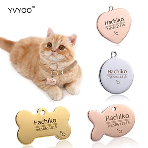 YVYOO Free engraving Stainless steel Pet cat collar accessories customized dog cat ID tag name telephone Multiple languages AA08