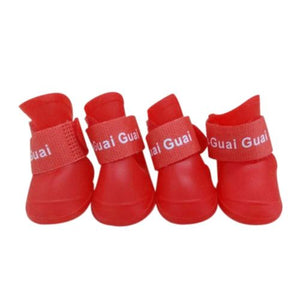 Pu 4Pcs/set Colorful Anti-Slip Skid Dog Cat Rain Protective Boots Waterproof Candy Colors Puppy Pet Rain Portable Shoes Boots