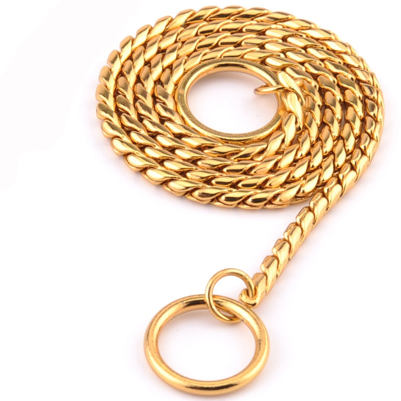 7 Size Gold Silver Stainless Steel P Chain Snake Chain Dog Harness Twisted Necklace Pet Show Training Choker Collars Dog Leash