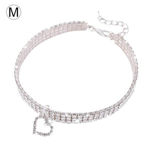 Pet crystal collar Kitten necklace Pet Pendant Shiny Bright Heart Shaped Crystal Diamond Decoration Accessories for Teddy