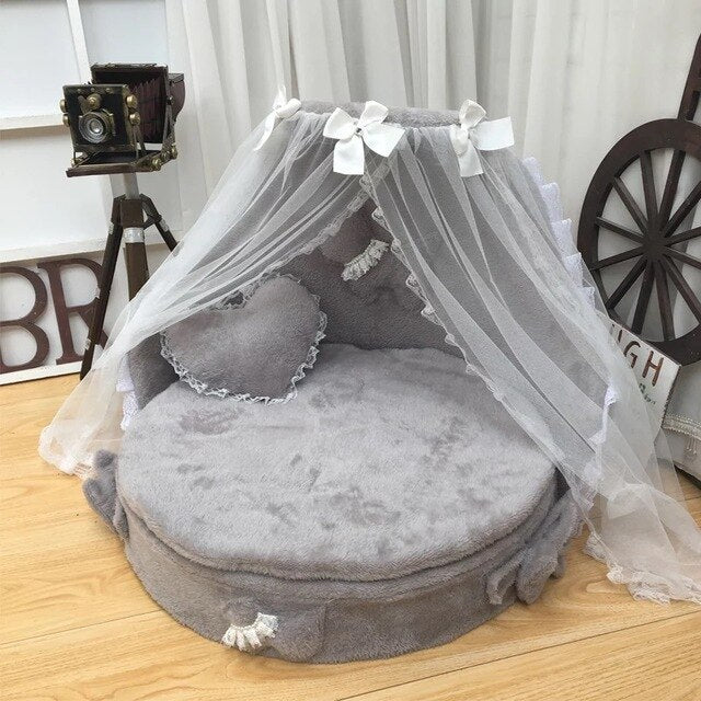 Dog bed  luxury dog kennels princess bed lovely cool dog pet cat beds sofa teddy house suede fabric lace pet bed