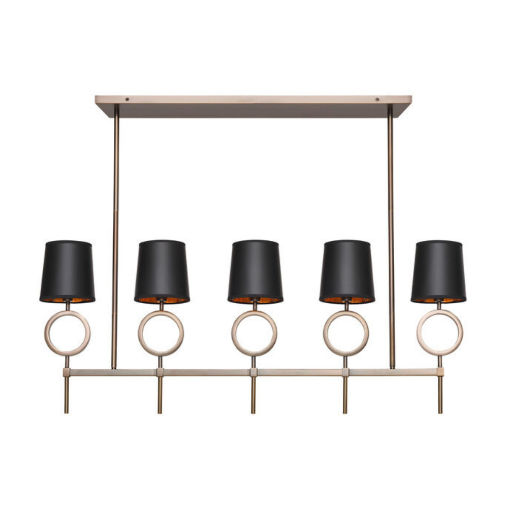Marco Chandelier - Aged Brass Black Shade