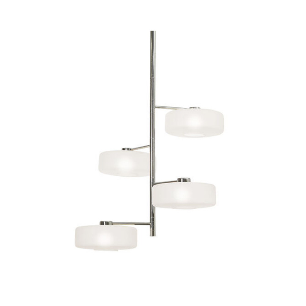 Razz Pendant - Polished Nickel and Frosted Glass