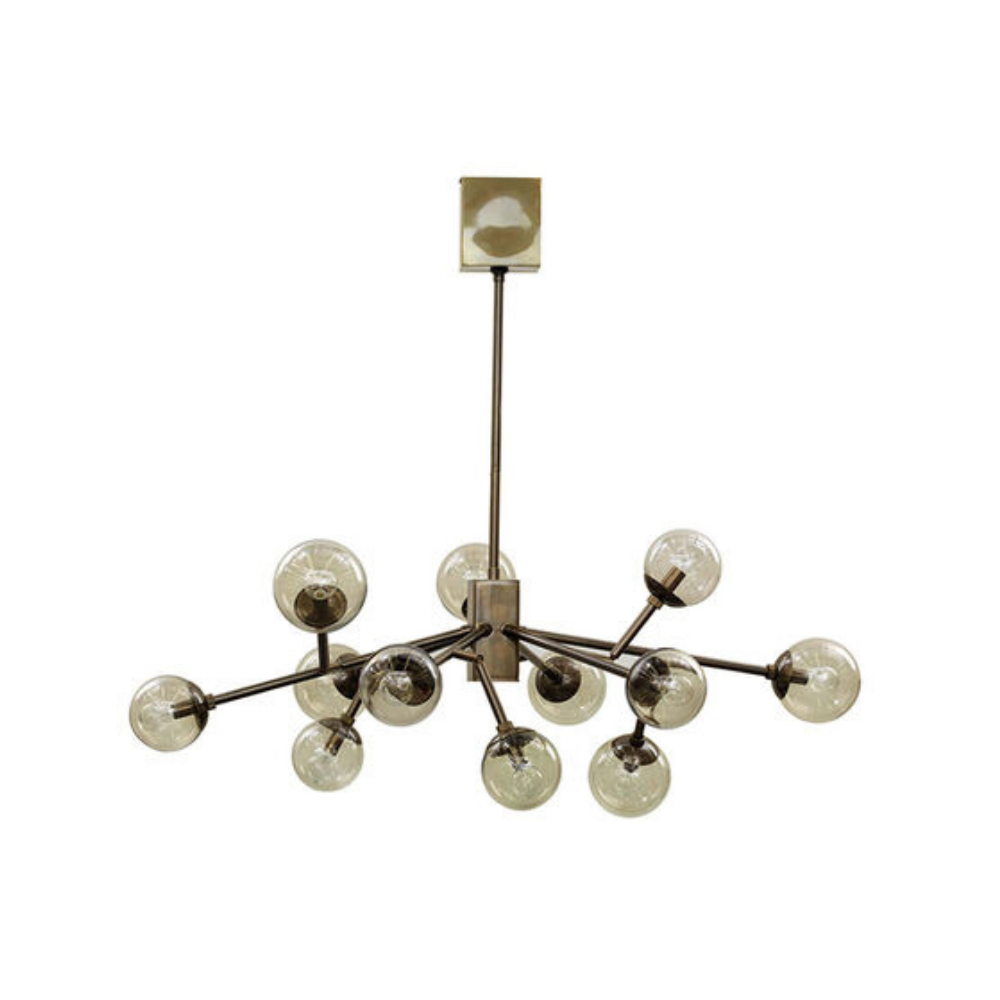 Savoy Chandelier - Vintage Brass With Smoke Glass
