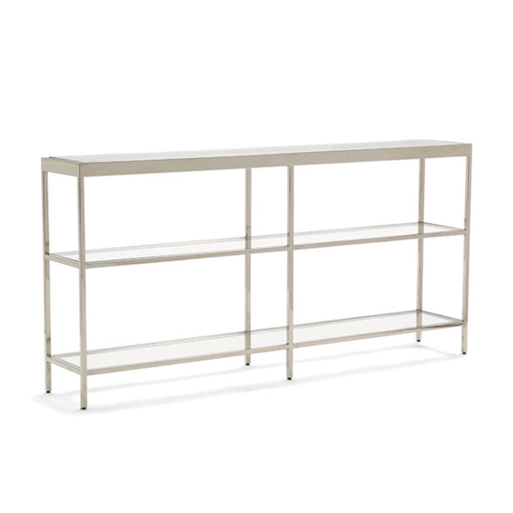 Vienna Low Bookcase Medium - Polished Stainless Steel