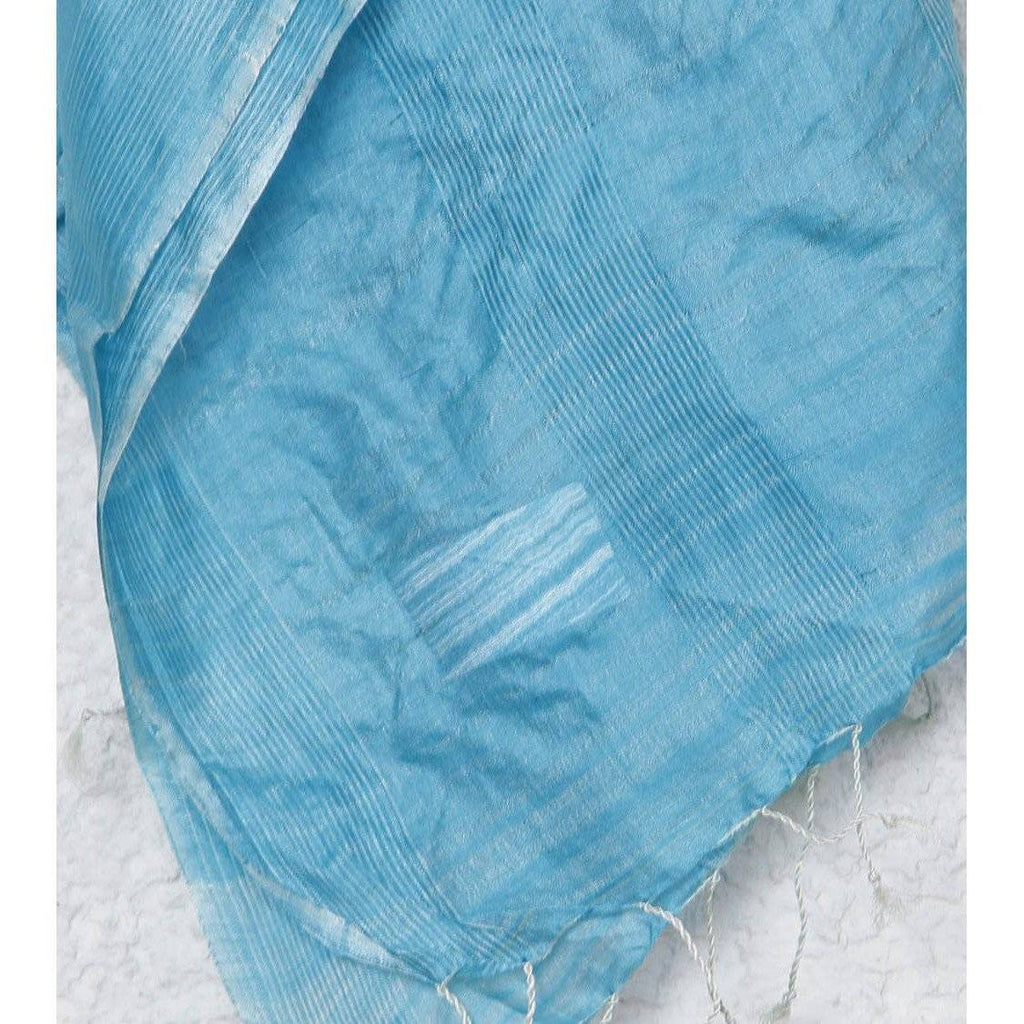 Indian Artizans - Light Blue Silk Dupattas - rangoutlet.com