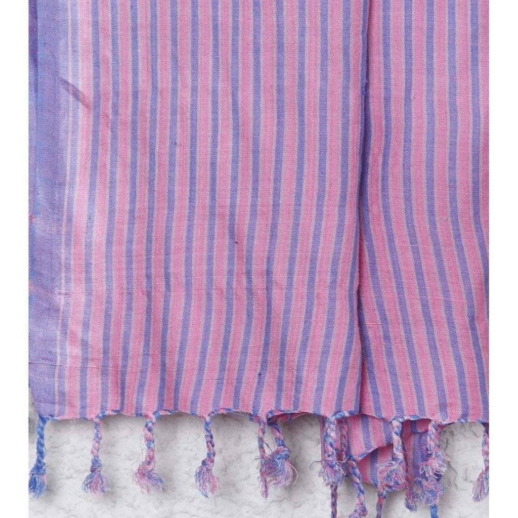 Indian Artizans - Pink with Blue Stripes Silk Dupattas - rangoutlet.com