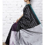 Black & Grey Handwoven Ikat Silk Saree - rangoutlet.com