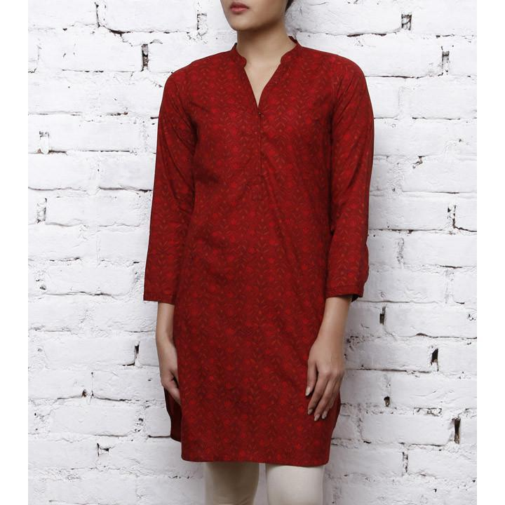 Red Cotton Printed Kurta - rangoutlet.com
