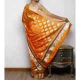 Orange Silk Chanderi Saree with Zari Work - rang