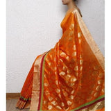 Orange Silk Chanderi Saree with Zari Work - rangoutlet.com