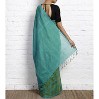 Blue & Green Chequered Mangalgiri Cotton Saree - rangoutlet.com