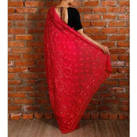 Pink Georgette Saree with Chikankari (100000029924) - rang