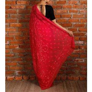 Pink Georgette Saree with Chikankari (100000029924) - rangoutlet.com
