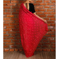 Pink Georgette Saree with Chikankari (100000029924)