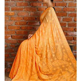Yellow Georgette Saree with Chikankari - rangoutlet.com