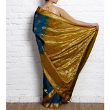 Blue Cotton Silk Saree with Zari Work - rang