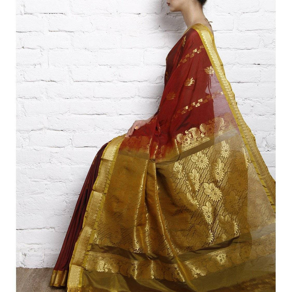 Brown Cotton Silk Saree with Zari Work - rangoutlet.com