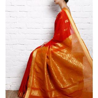 Orange Cotton Silk Saree with Zari Work - rangoutlet.com