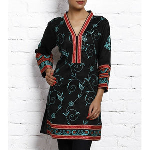 Black Embroidered Matka Silk Cotton Kurta - rangoutlet.com