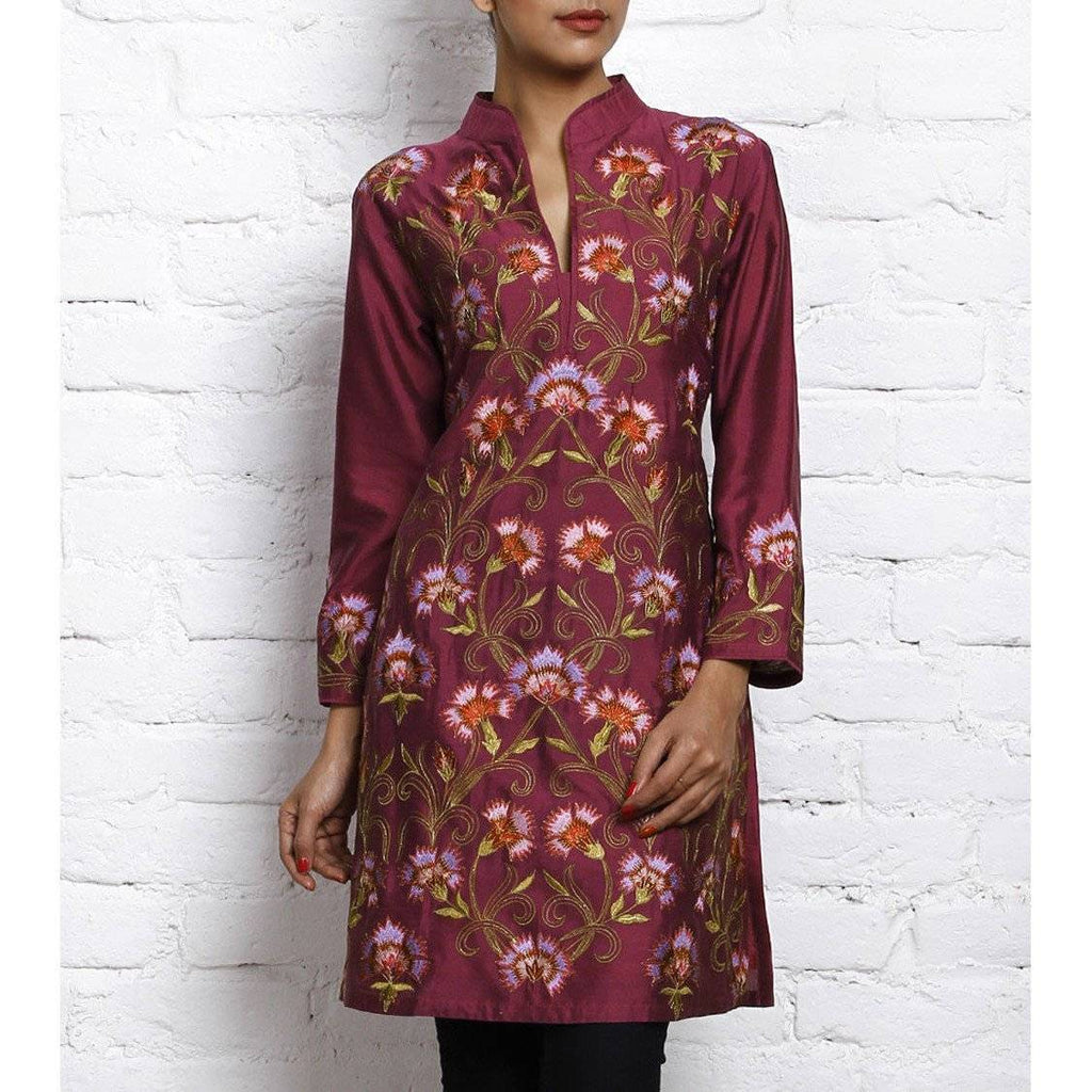 Purple Embroidered Katan Silk Kurta - rangoutlet.com