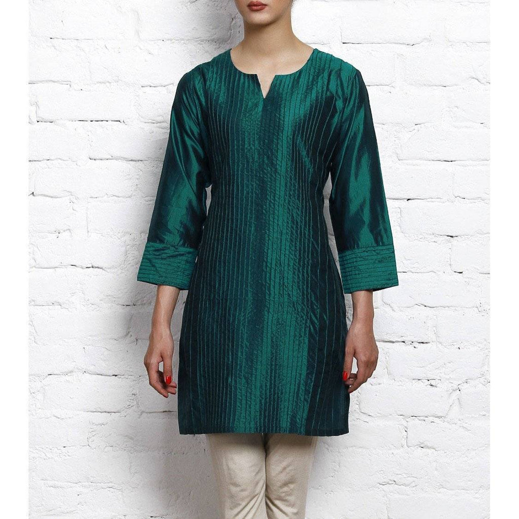 Blue Silk Kurta with Stitch Details - rangoutlet.com