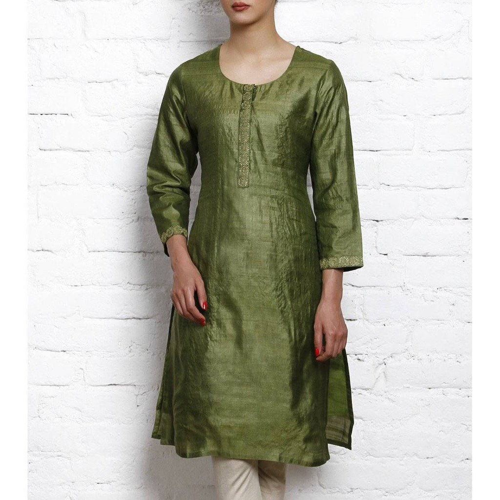 Green Tussar Silk Kurta with Golden Motifs - rangoutlet.com