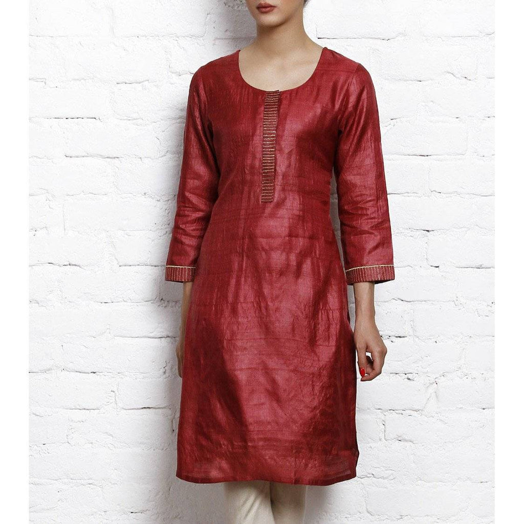 Maroon Tussar Silk Kurta with Golden Embroidery - rangoutlet.com