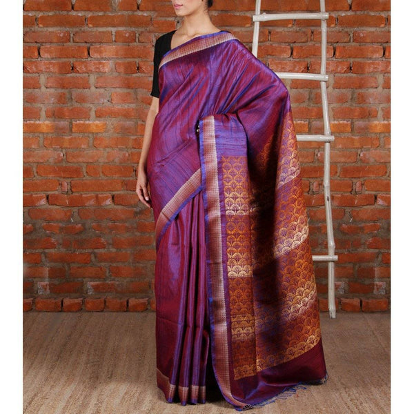 Purple Tussar Silk Saree - rangoutlet.com