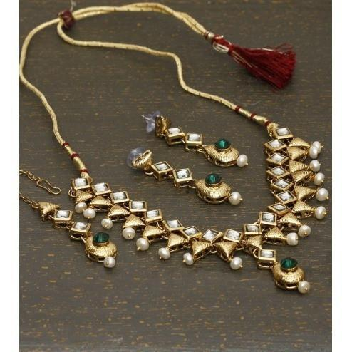 Golden Stone Embellished Necklace Set - rangoutlet.com