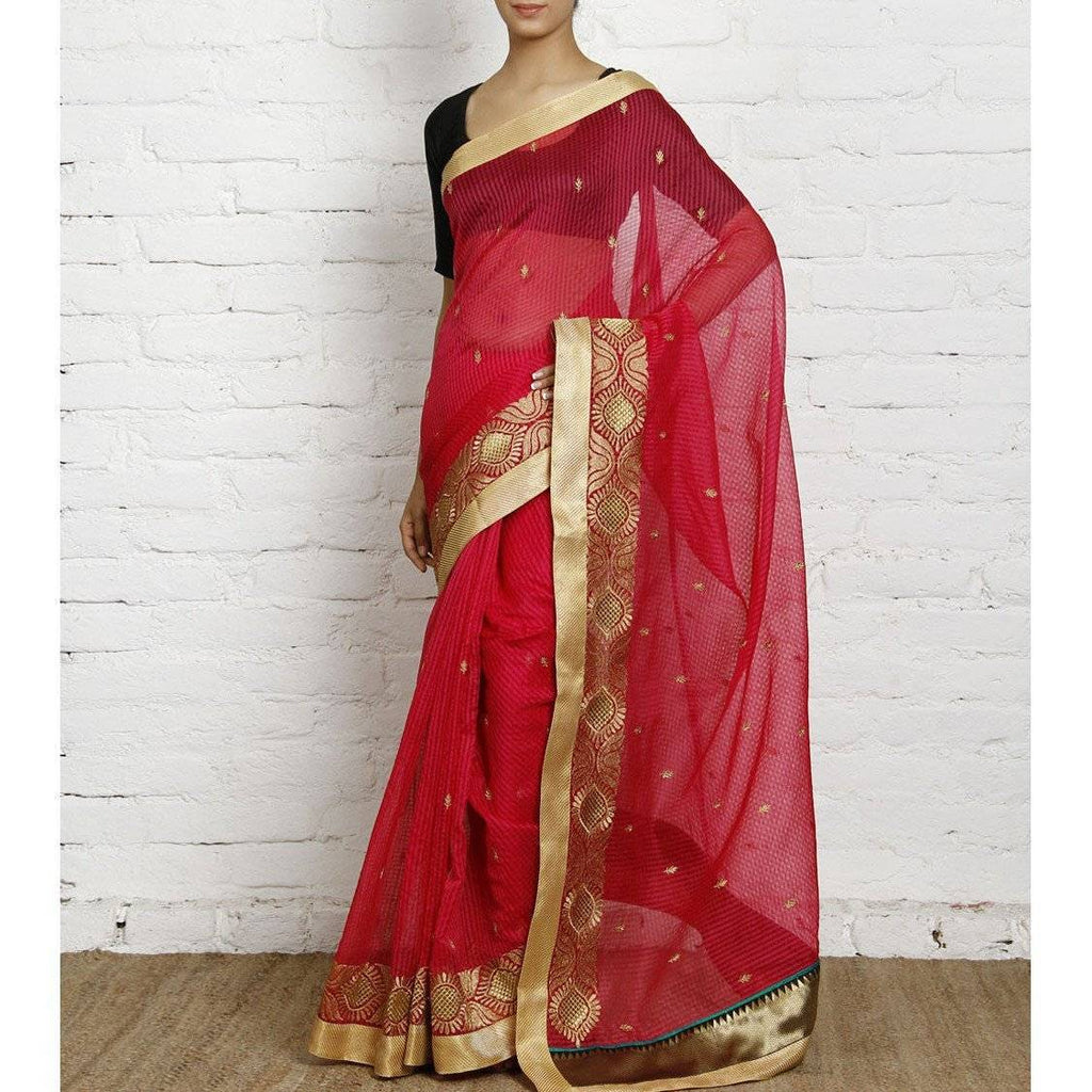 Dark Pink Cotton Supernet Saree (100000032795) - rangoutlet.com