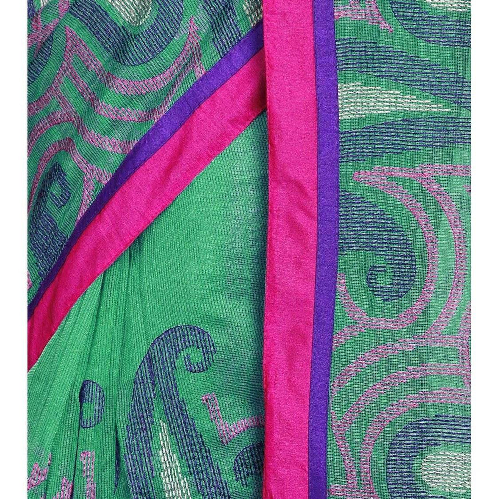Green Cotton Supernet Saree - rangoutlet.com