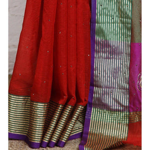 Red Cotton Supernet Saree - rangoutlet.com