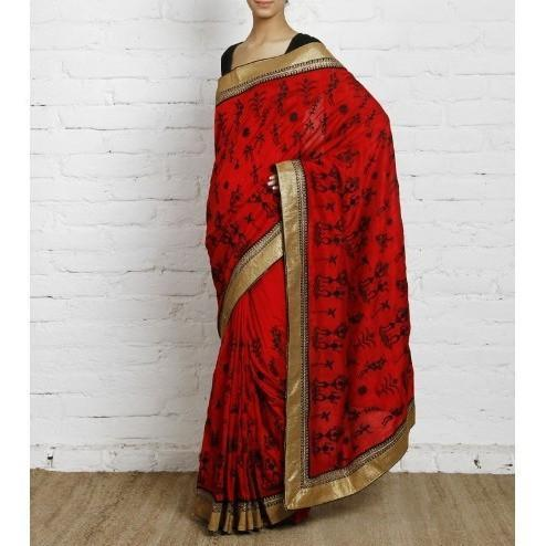 Red Bhagalpuri Silk Saree - rangoutlet.com
